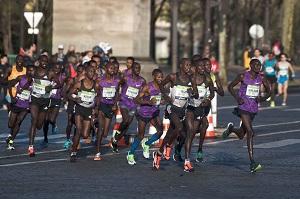 tête de course marathon de Paris